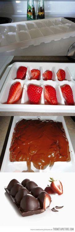 Σοκολατάκια με φράουλα με 2 βήματα!