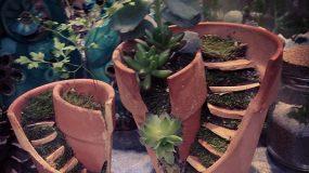 Σπασμένες γλάστρες μεταμορφώνονται σε μικρούς κήπους!
