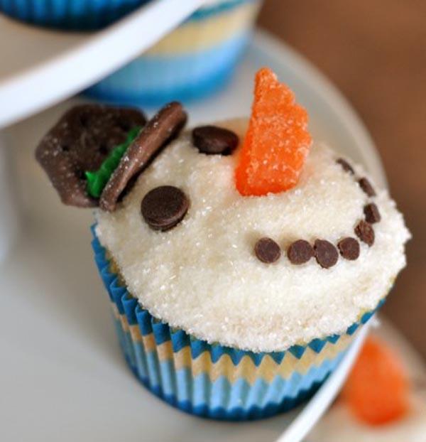 cup cakes χιονάνθρωπος