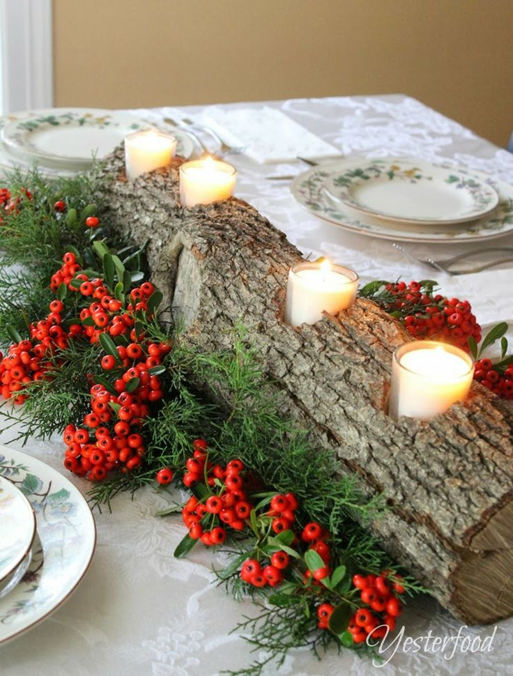 Yesterfood :How to make a Rustic Log Centerpiece