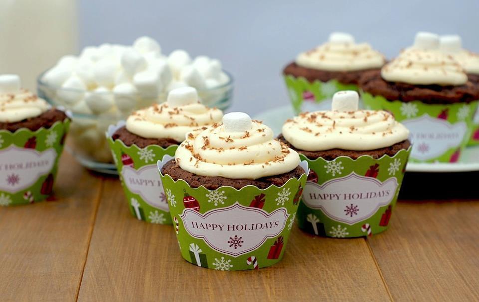 Χριστουγεννιάτικες θήκες cupcake - Δωρεάν εκτύπωση DIY