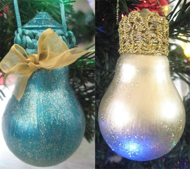 diy christmas tree ornaments light-bulbs-paint-glitter