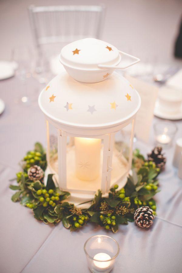 easy DIY Christmas centerpiece ideas lantern pine cones evergreens tea candles