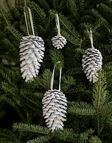White pinecones as Christmas tree ornaments.