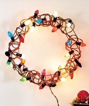 Wrap lights around a wire wreath.