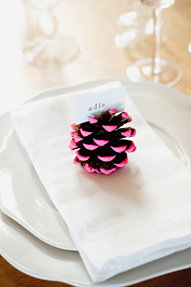 Neon-Dipped Pinecones