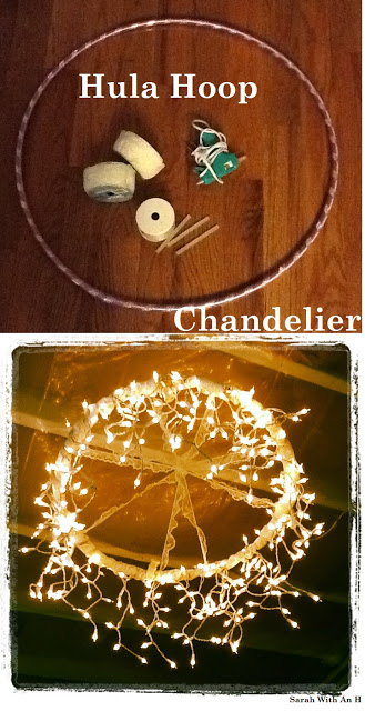 Make a hula hoop chandelier using icicle lights.