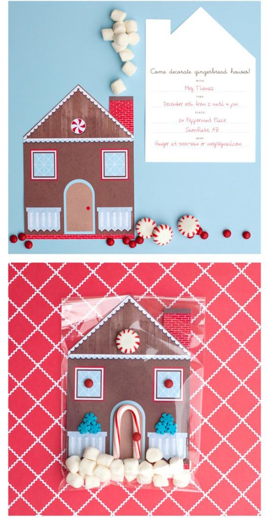 Ένα Gingerbread House-Διακόσμηση Κόμμα Πρόσκληση