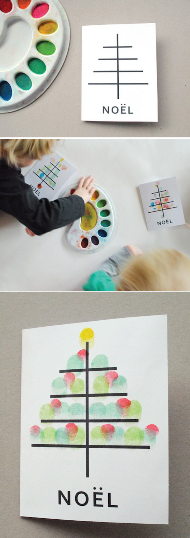 Fingerpaint Χριστουγεννιάτικες κάρτες από τα παιδιά