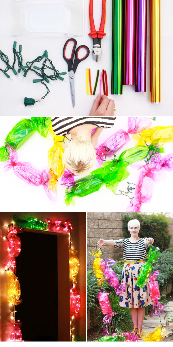 Use shiny wrapping paper to create giant candy lights.