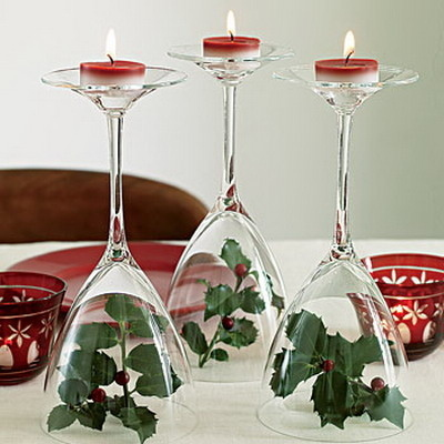 Wine Glasses as Votive Holders