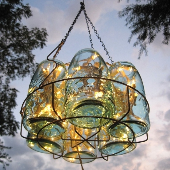 Fill mason jars to create a makeshift chandelier.