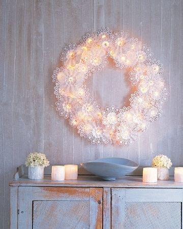 Create an angelic paper doily wreath.
