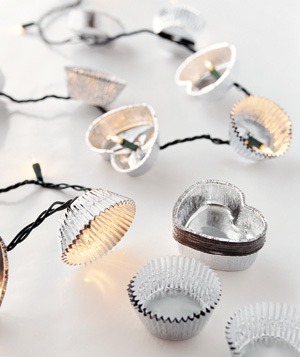 Use foil cupcake liners as light embellishments.