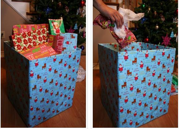 Χρησιμοποιήστε ένα κουτί από χαρτόνι τυλιγμένο σε χαρτί δώρο ως δοχείο με σκουπίδια σας το πρωί των Χριστουγέννων.