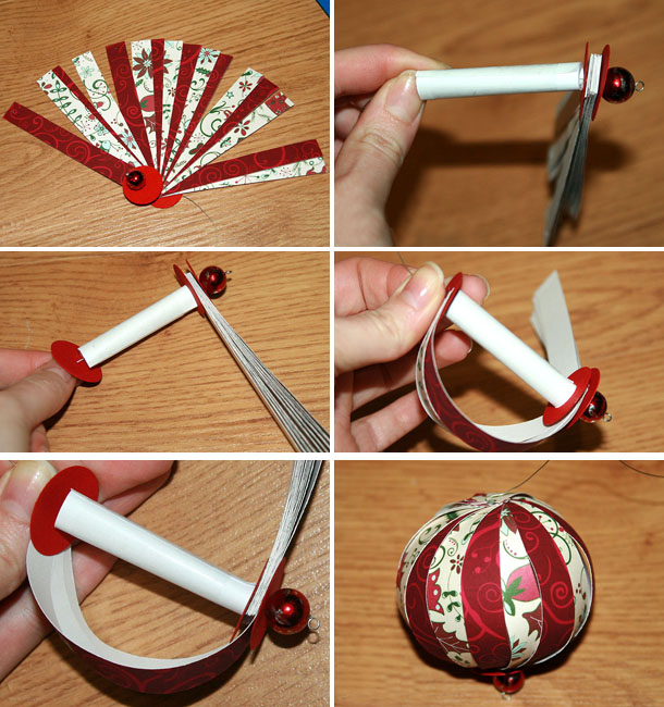 homemade christmas ornaments paper crafts red white