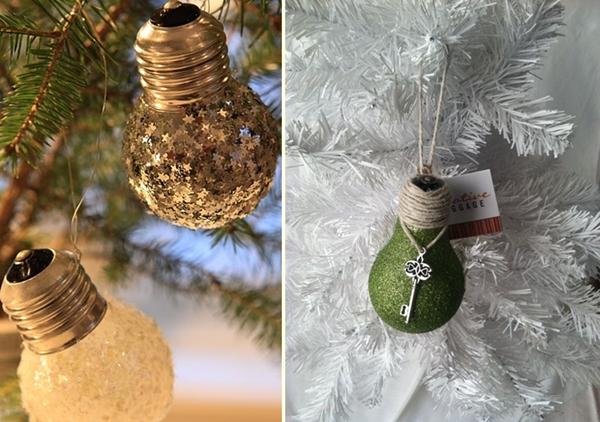 homemade christmas tree ornaments upcycled light bulbs