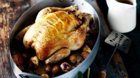 Χριστουγεννιατικο Κοτόπουλο γεμιστό με κάστανα
