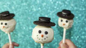 Cake Pops χιονανθρωποι με μπισkοτα oreo