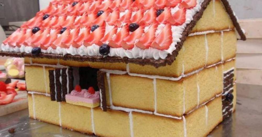 Χριστουγεννιατικα σπιτάκια από κέικ !