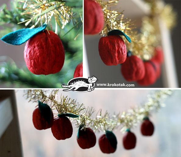 Χριστουγεννιάτικα στολίδια από καρύδι γίνονται όμορφα μηλαράκια με μια ματιά!!!