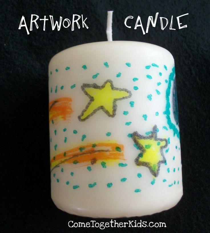 Καντε τις ζωγραφιες των παιδιων σχεδιο πανω στα κερια σας!!!Πανευκολη κατασκευη που θα σας ξετρελανει!