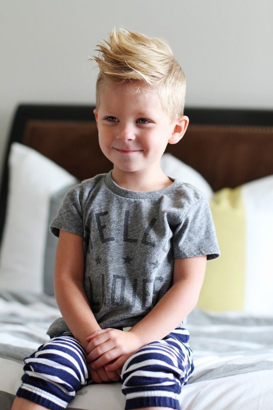 little boy's short haircut longer spikey top.   GQ hairstyle.  Love this cut.  Blonde cutie.  Stylish guy.