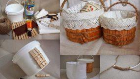 Πως θα φτιάξετε με ένα πλαστικό κουβά και μανταλάκια ένα πανέμορφο καλάθι!