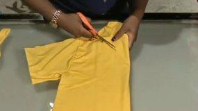 Κόβει ένα παλιό μπλουζάκι της.Γιατί;Δείτε τι δημιούργησε! VIDEO
