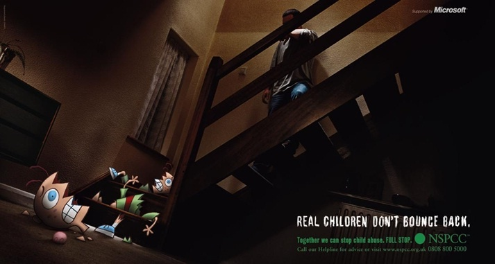 NSPCC 'Full Stop' Campaign from 2002 - 'Real Children Don't Bounce Back'. 'Full Stop' has one single aim - to end cruelty to children. FULL STOP. Find out more: www.nspcc.org.uk