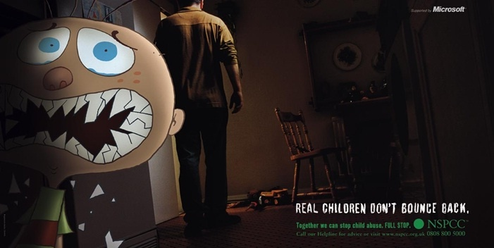 NSPCC 'Full Stop' Campaign from 2002 - 'Real Children Don't Bounce Back'. 'Full Stop' has one single aim - to end cruelty to children. FULL STOP. More info: www.nspcc.org.uk
