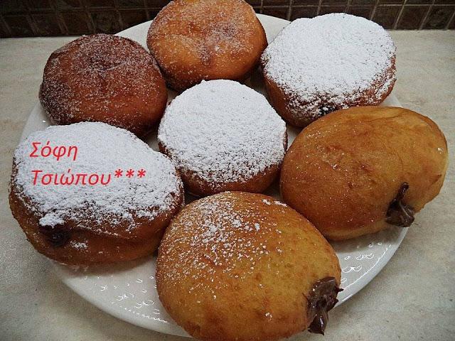 Φανταστική συνταγή για  donuts γεμιστά με nutella ή μαρμελάδα