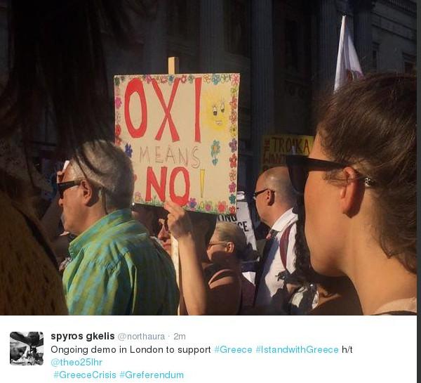 Διαδήλωση υπέρ του όχι στο Σύνταγμα - Συλλαλητήριο συμπαράστασης και στο Λονδίνο φωτογραφίες και video