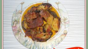 Συνταγή για Μοσχαρί κοκκινιστό με μελιτζάνες και λαχανικά στην γάστρα