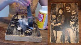 Τοποθετει  μια φωτογραφία σε ένα κομμάτι ξύλου. Το αποτελεσμα; Καταπληκτικό!