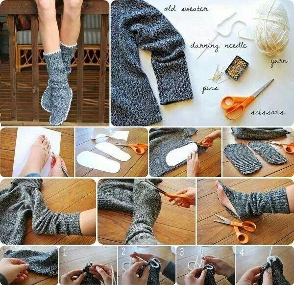 κάλτσες απο παλιο πουλόβερ