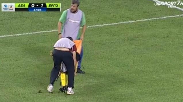 Τραγικοι τραυματιοφορείς στον αγώνα Λάρισα-Εργοτέλης(video)