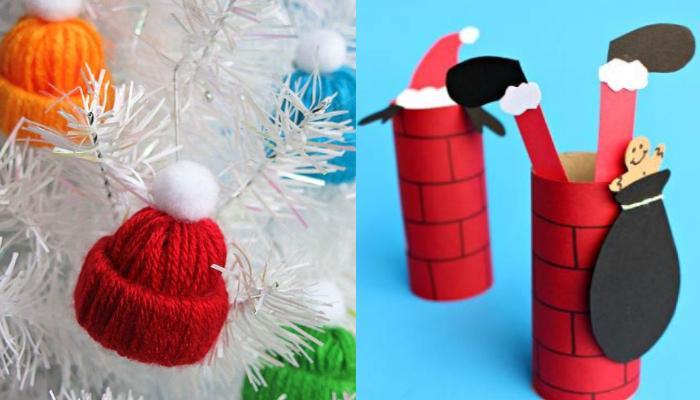 DIY:Φτιάξε στολίδια σκουφάκι για το Χριστουγεννιάτικο δέντρο σου και Χριστουγεννιατικες ιδέες με ρολό χαρτιου