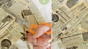 Κόβει μία εφημερίδα  και δημιουργεί την ποιο όμορφη ιδέα για τα Χριστούγεννα