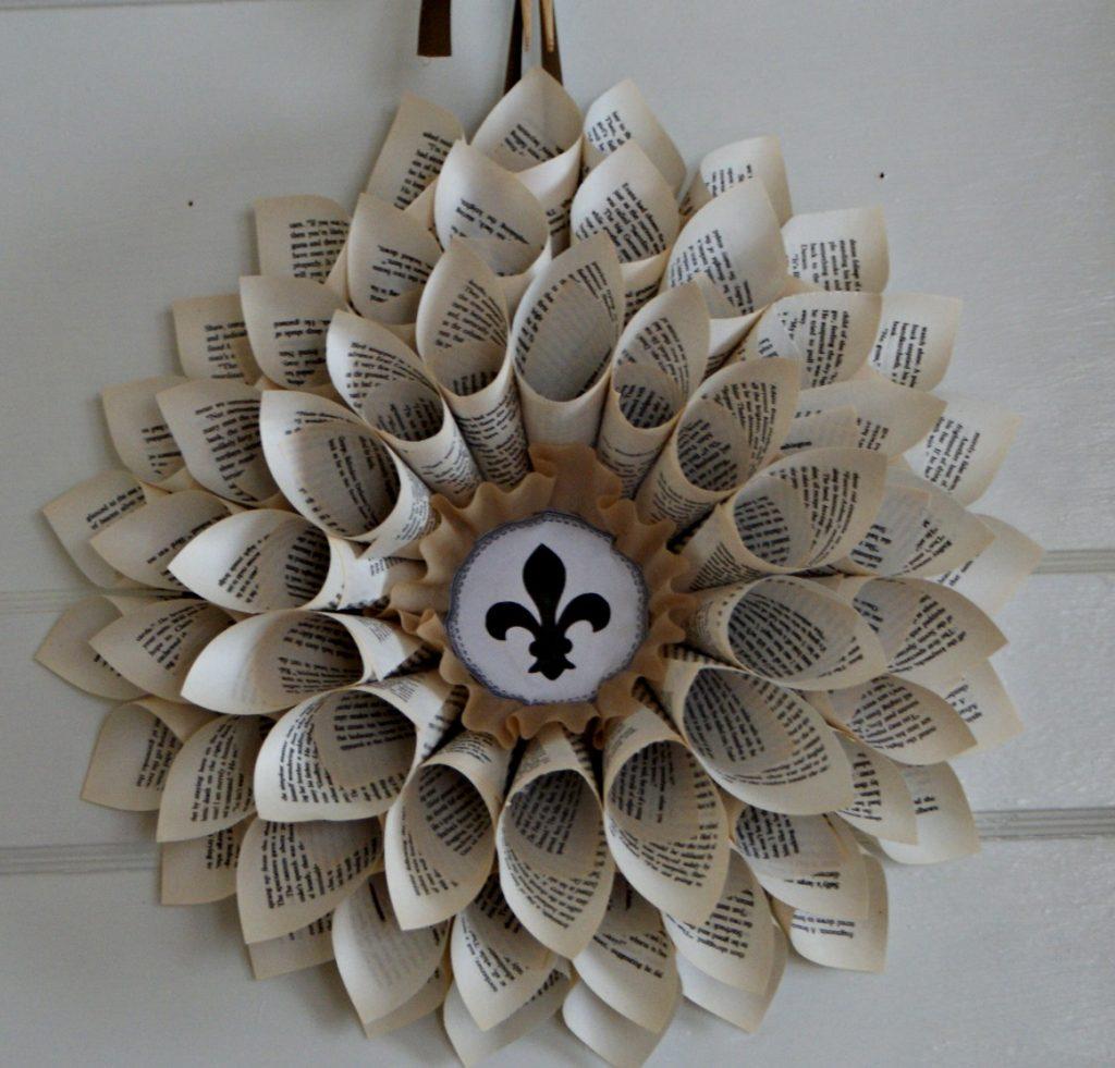 fleur de lis book page wreath