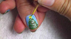 Φτιαξτε δεντράκια στα νύχια σας με σελοτέιπ!