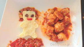 Φιλετάκια κοτόπουλου με σπιτικό πουρέ και σάλτσα ντομάτας