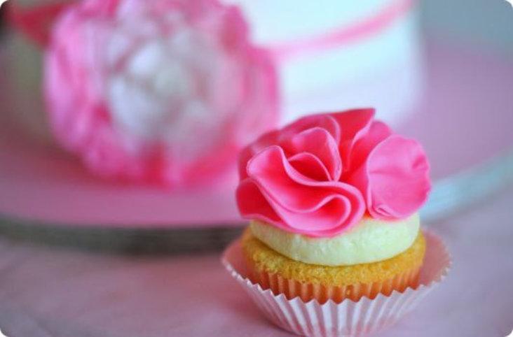 Λουλούδια απο ζαχαρόπαστα για cupcakes