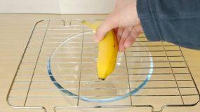 Ακουμπάει μια μπανάνα στη σχάρα φαγητου γιατί;Τρελό κόλπο