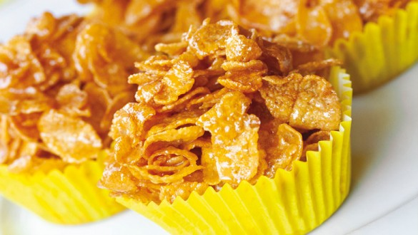 cupcake με cornflakes και μέλι