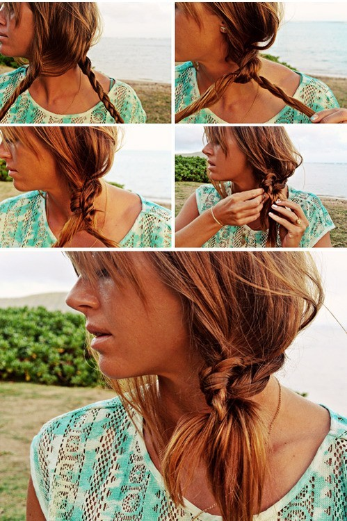 Beach-Hairstyle-Ideas-Knotted-Braid-Side-Ponytail-Hairstyle-Tutorial