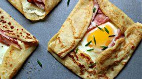 Κρέπες αλμυρές, με μπέικον και αυγό.