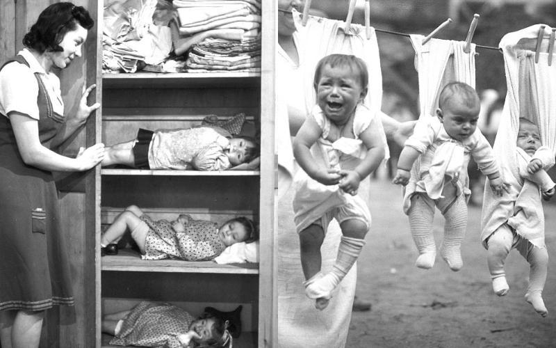 Πώς μεγάλωναν τα παιδιά παλια...Όταν έβαζαν για ύπνο τα παιδιά τους στη ντουλάπα
