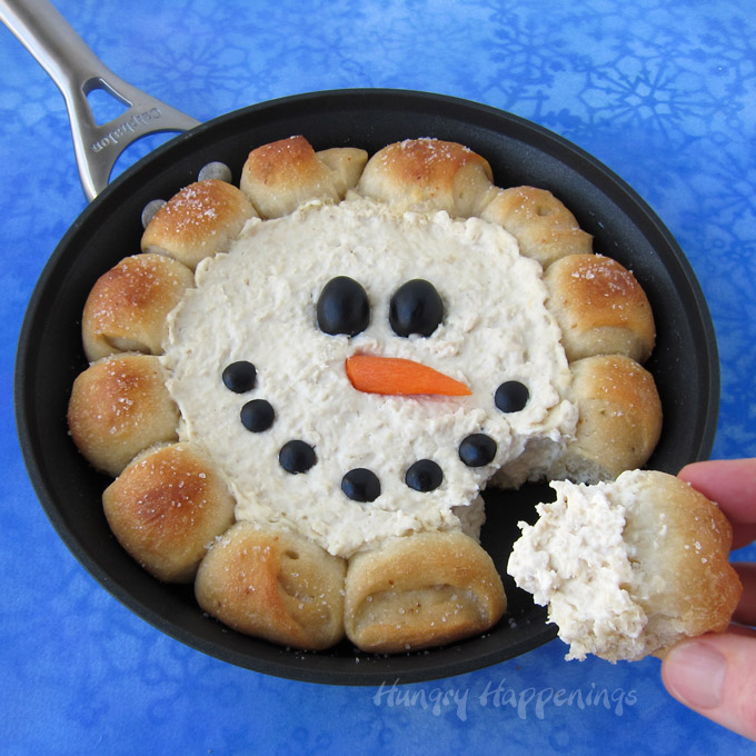 Πεντανόστιμο χριστουγεννιάτικο ορεκτικό! Dip χιονάνθρωπου στο τηγάνι