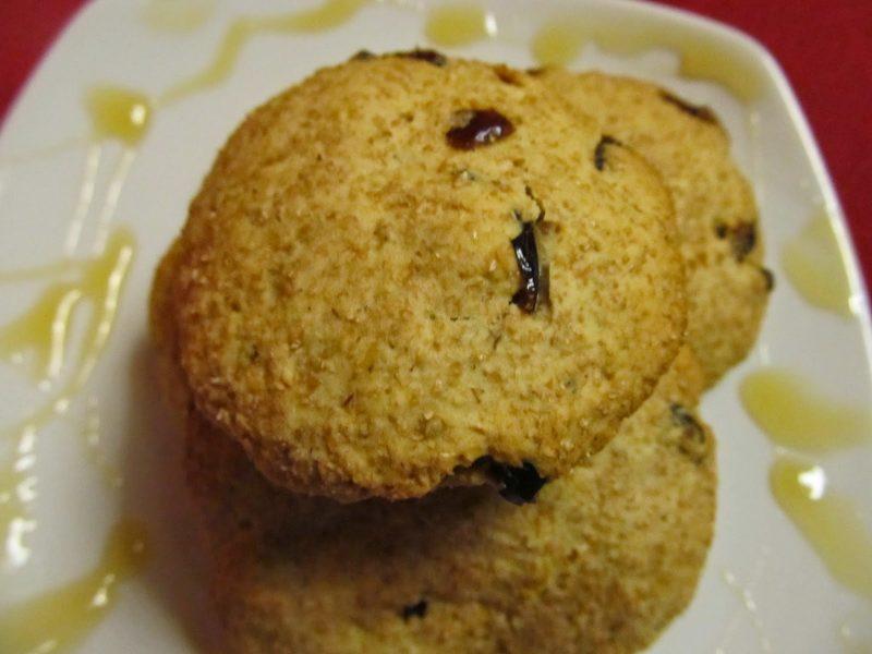 Μπισκότα ολικής με μέλι,cranberries,γιαούρτι και λεμόνι